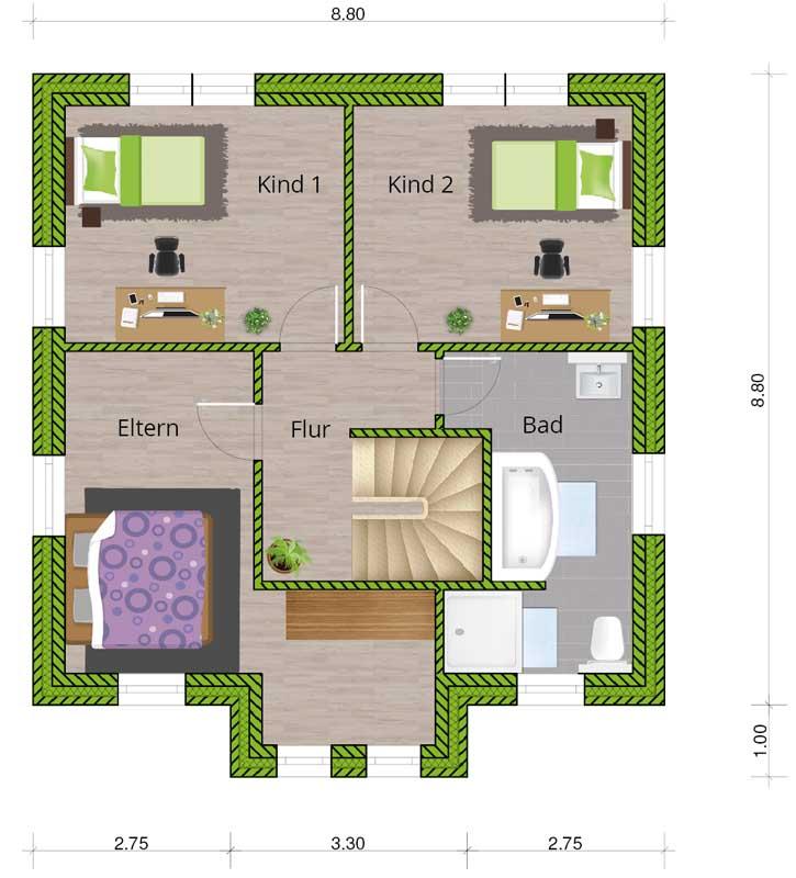 grundrissvorschlag stadtvilla 120 dachgeschoss