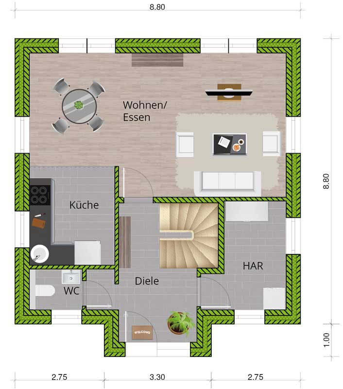 Stadtvilla - WBI Hausbau - Kompakt und modern auf zwei Etagen