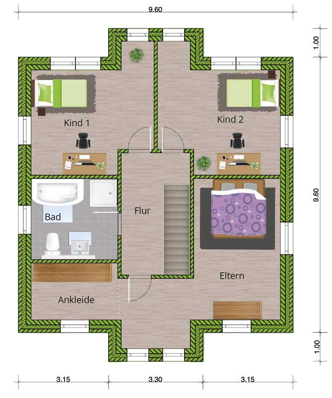 grundrissvorschlag stadtvilla 150 dachgeschoss